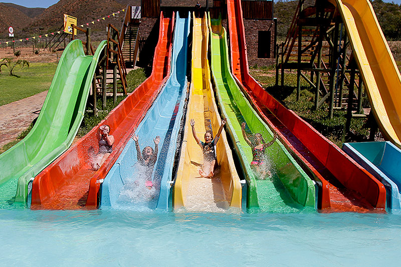 Water slides at Wilgewandel Holiday Farm Oudtshoorn
